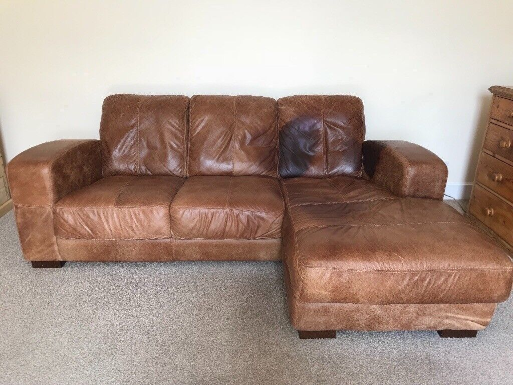3 Seater Brown Leather sofa / settee with chaise longue ...