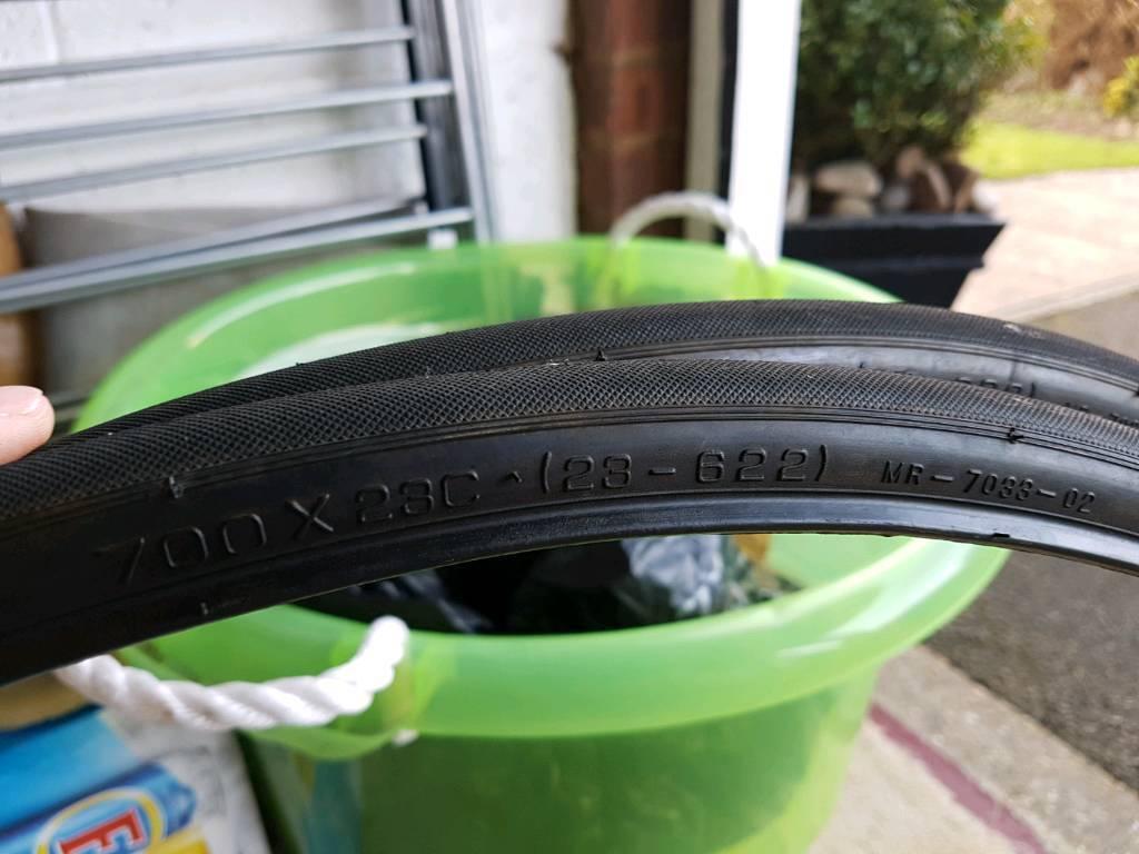 2 Road bike tyres 700 x 23c