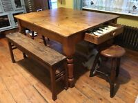 ANTIQUE KITCHEN TABLE, BENCHES AND STOOLS