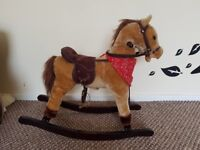 Plush rocking horse with neighing sound and moving mouth