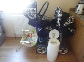 BABY BUNDLE-TRAVEL SYSTEM PRAM/STROLLER/CAR SEAT+FISHER PRICE BOUNCER+ANGELCARE NAPPY BIN+BONUS!!!