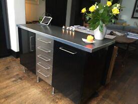 Black freestanding kitchen, worktop unit, sink, fridge/freezer and range cooker