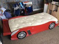 Kids single racing car bed