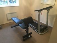 Treadmill and Weight Bench with Weights