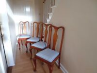 4 dining chairs - fresh upholstery and varnish - extra seats for Christmas