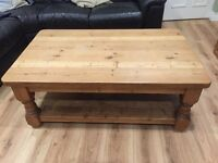 Solid pine rustic plank coffee table