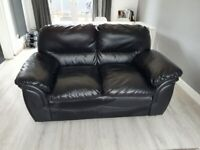 Black Leather from DFS Valiant Sofa Set - 3 Seater + 2 Seater