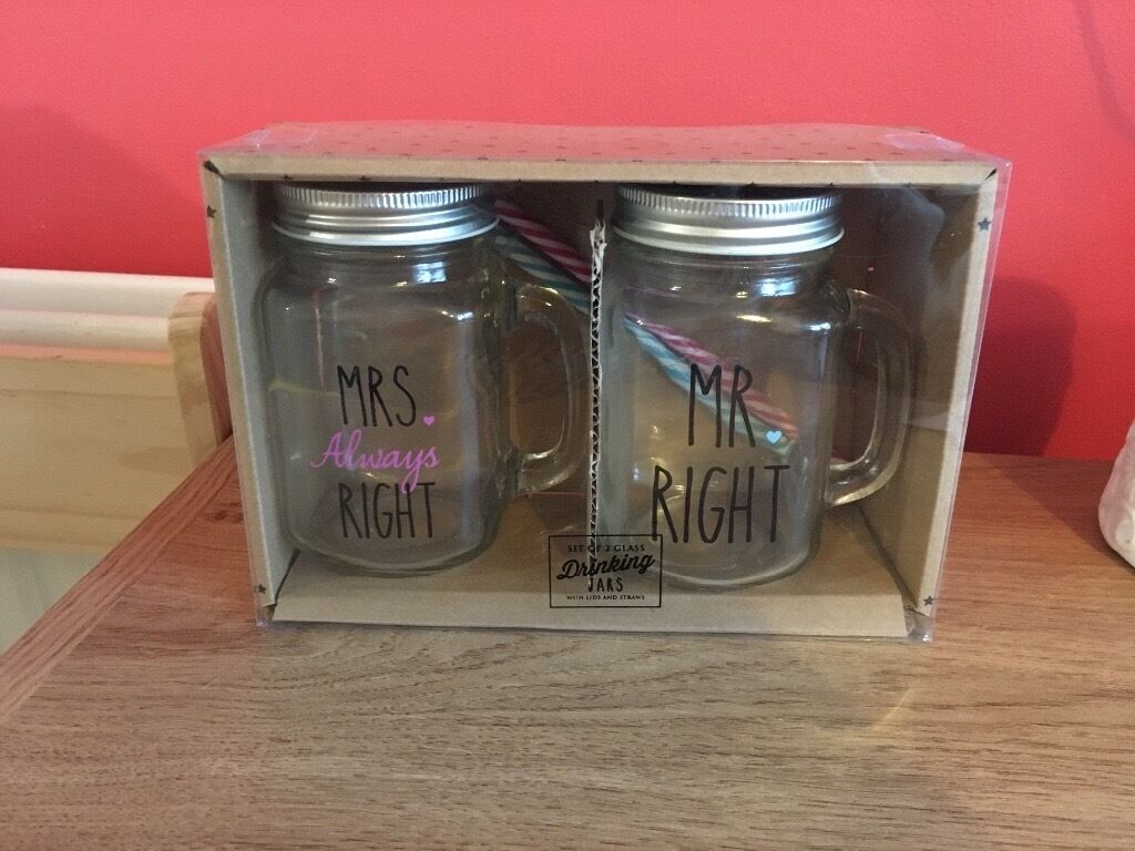 Mr and Mrs Glass Drinking Jars