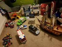 PLAYMOBIL HUGE BUNDLE FOR CHRISTMAS TOYS CARS POLICE FIRE STATION SHIP