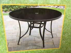 New Black Circular Garden Table