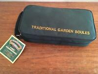 Traditional garden boules set in zipped case