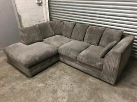 FREE DELIVERY GREY CORD FABRIC L-SHAPED CORNER SOFA GOOD CONDITION