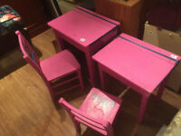 2 x Girls pink desk and Chairs £75 each...