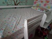 Cabin bed with shelf and tent