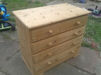 NATURAL PINE WOOD CHEST OF DRAWERS CABINET STORAGE UNIT, 3FT X 2.5FT