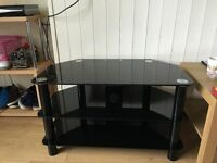 Black 3 tier glass tv stand unit