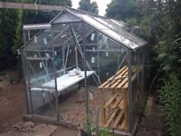 Perfect Condition 7' x 7' Aluminium Framed Glass Greenhouse For Sale