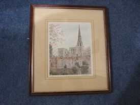 Framed limited edition print of Chichester Cathedral taken from originals by Philip & Glyn Martin
