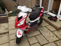 Red & White Peugeot Speedfight 3 50cc Moped 2012