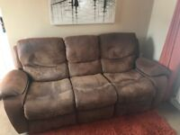 2 x 3 & 1 x 2 Seater brown leather recliner sofa £75 each... 1 Corner sofa (including stool) £150