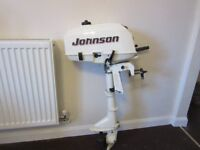 JOHNSON 3.5 HORSEPOWER OUTBOARD BOAT ENGINE, SHORT SHAFT 2 STROKE LIGHTWEIGHT GWO