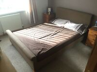 Caramel Brown Fabric Double Bed Frame