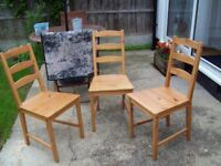 spare wooden chairs x 3