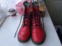 Red Patent Dr Martins, UK Size 8, worn once, bought in Camden Town