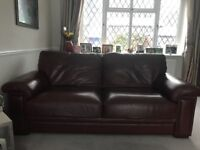 3 Seat tan/ brown Leather Sofa - no pets & smoke free home - Excellent Condition