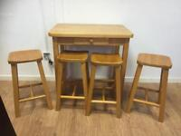 Pine bar table & 4 stools