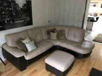 Beautiful leather cream and brown corner sofa and storage foot stool.