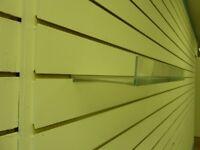 Flat acrylic slatwall shelf, 600mm wide
