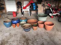 Range of garden pots