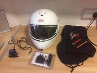 White new Bluetooth motorbike crash helmet
