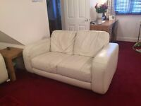 Cream Leather 3 Seater Sofa + 2 Seater + Foot Stool