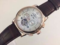 New Patek Philippe Tourbillon Rose Gold Case Automatic Watch, See Through back