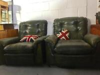Pair retro green leather arm chairs chesterfield style