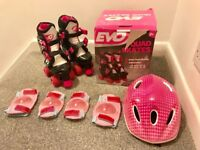 Girls adjustable roller boots, helmet and protective wear