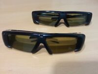 1 Pair of Samsung SSG-2100AB Compatible Rechargeable Active 3D Glasses, Good Condition