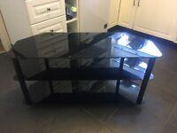 Black Tempered Glass Corner TV Stand