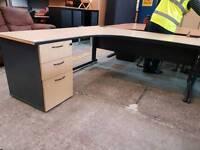 Large corner desk with three drawers