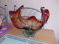 Vintage Murano Large Art Coloured Glass Purple Blue Turquoise Bowl