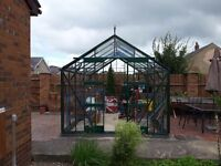 Large greenhouse(12×8) all toughened glass/acrylic. Autovents, louvre, heater and waterbutt.