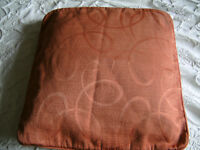 "5 Duck Feather Sofa Cushions With Orange covers. 16"" square"