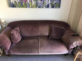 3 seat purple velvet sofa from Sofa Workshop.