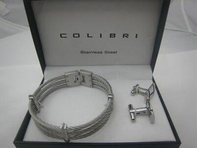 Colibri Shox Collection Stainless Steel Cufflinks & Bracelet Gift Set ()