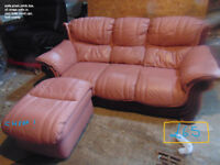 leather sofa 3 seat + stool used vgc , and comfy in north wales