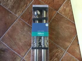 New in sealed packaging 300cm 'silver' curtain pole