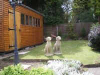 A Pair of Wiemaraner Dog Statues Garden etc