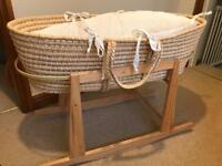 Used Organic Moses Basket with stand and accessories